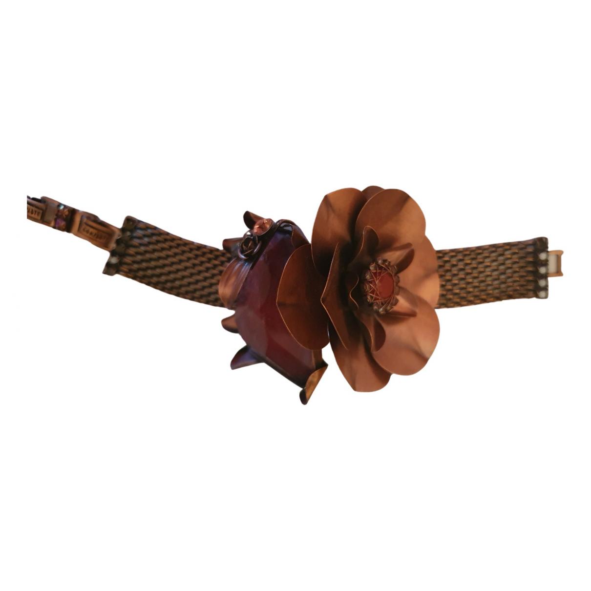 - Bracelet Motifs Floraux pour femme en plaque or - rouge