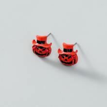 Pendientes de tachuela de hombres con diseño de calabaza de Halloween
