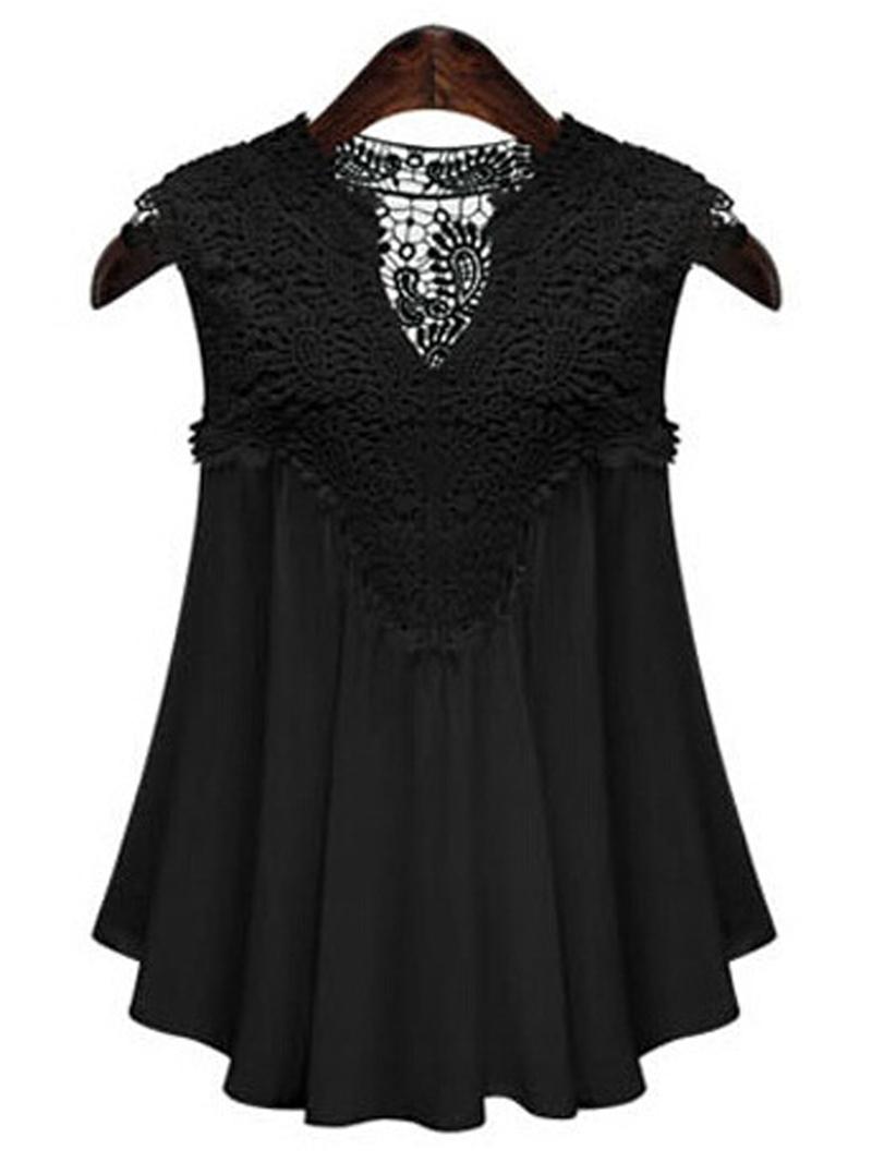 Ericdress Slim Lace Patchwork Plus Size Blouse
