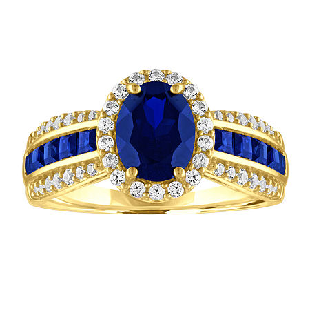 Womens Lab Created Blue Sapphire 10K Gold Cocktail Ring, 7 , No Color Family