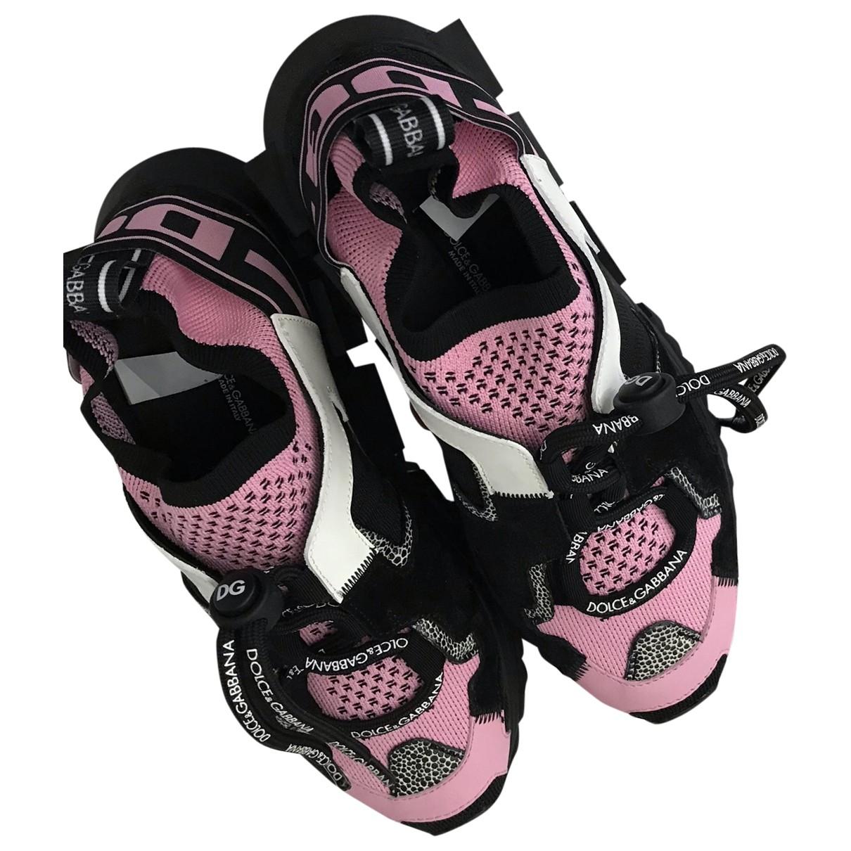 Dolce & Gabbana Sorrento Sneakers in  Rosa Leinen