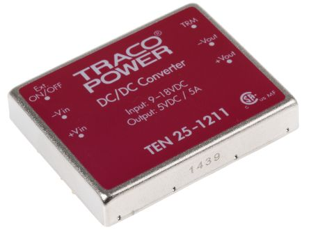 TRACOPOWER TEN 25 25 W, 30 W Isolated DC-DC Converter Through Hole, Voltage in 9 → 18 V dc, Voltage out 5V dc