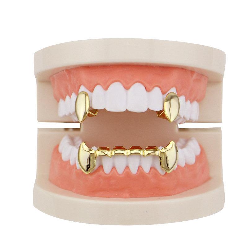 4 Colors Vintage Vampire Denture Set Metal Geometric Braces Canine Grillz Teeth Jewelry