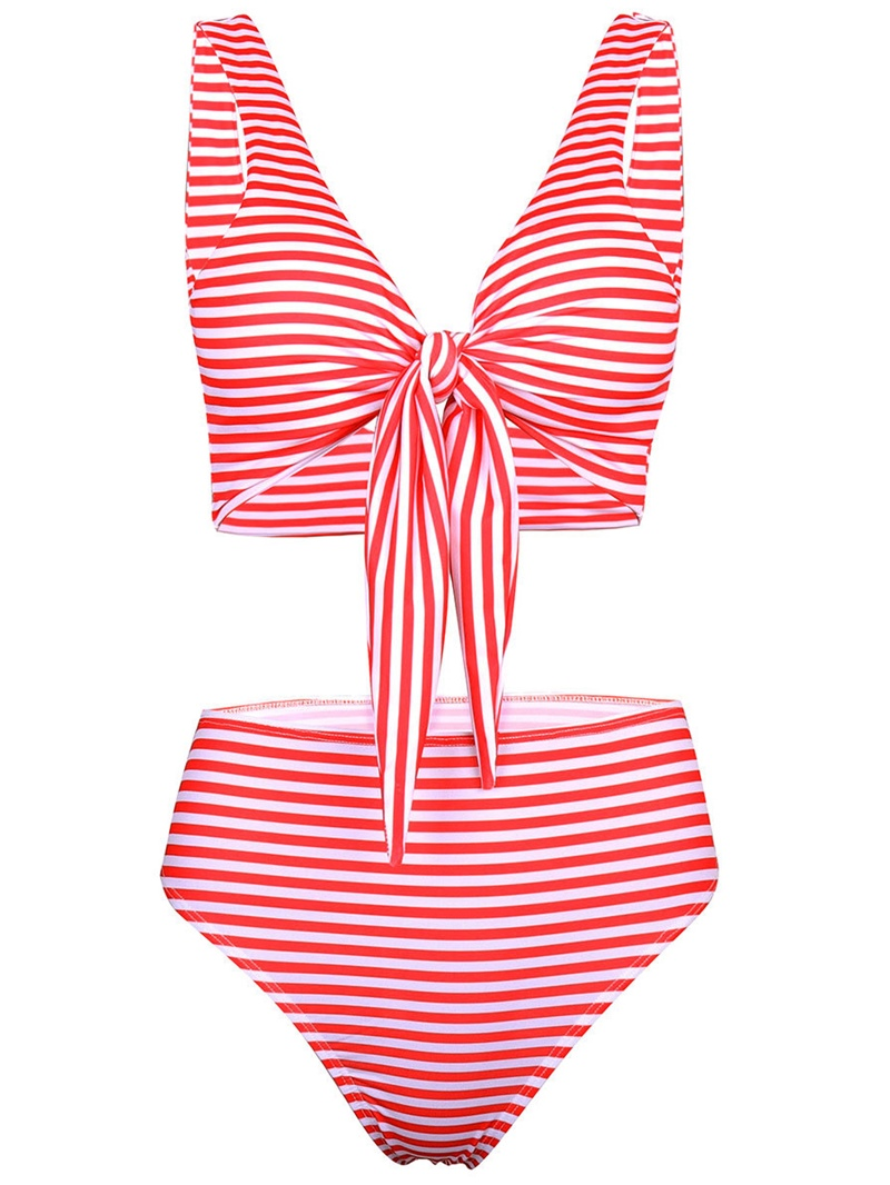 EricdressStriped Bowknot Lace-Up Bikini