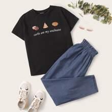Plus Slogan Graphic Top & Paperbag Waist Pants Set