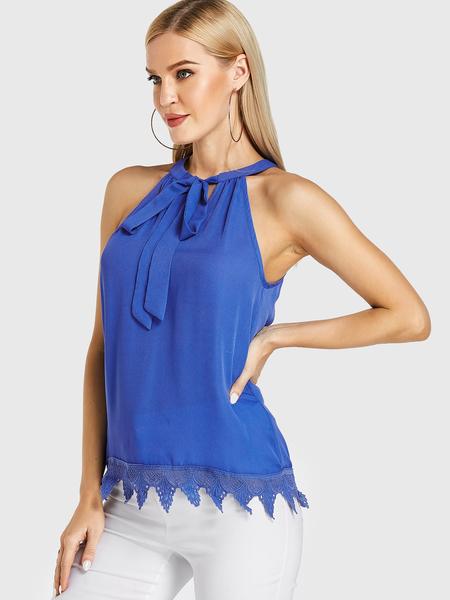 YOINS Blue Halter Knotted Crochet Lace Embellished Cami