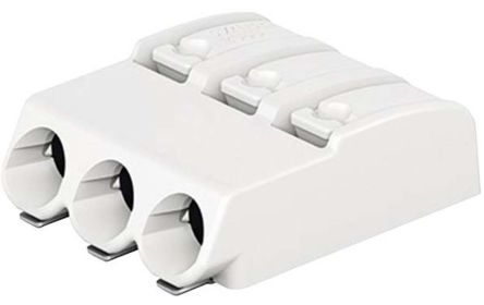 Wago 2060 Series, Female 3 Pole 3 Way PCB Terminal Block, PCB Mount, Rated At 9A, 320 V, White (10)