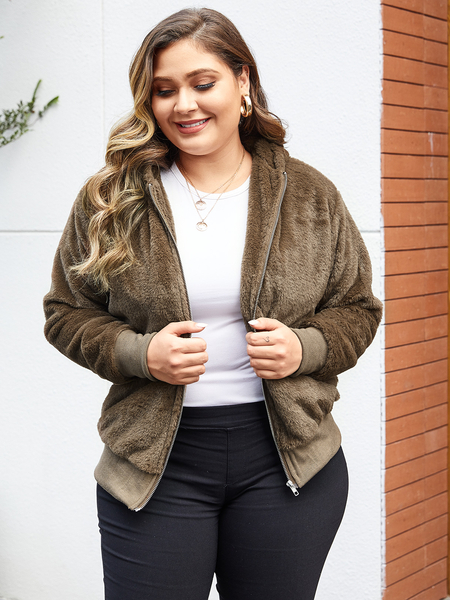 Yoins Plus Size Brown Zipper Design Hooded Coat