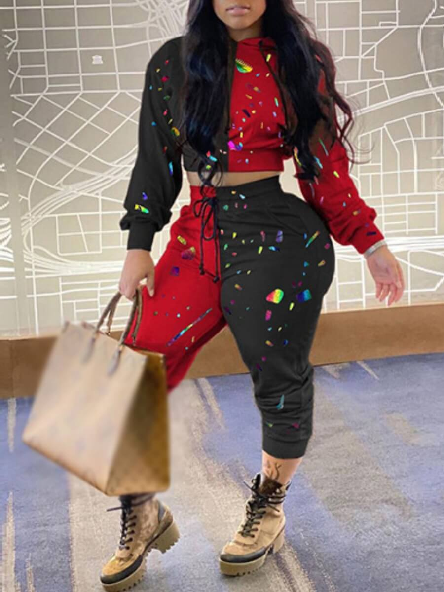 LW Lovely Street Tie Dye Patchwork Wine Red Two Piece Pants Set