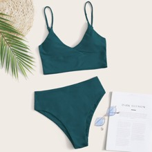 Adjustable Strap High Waisted Bikini Swimsuit