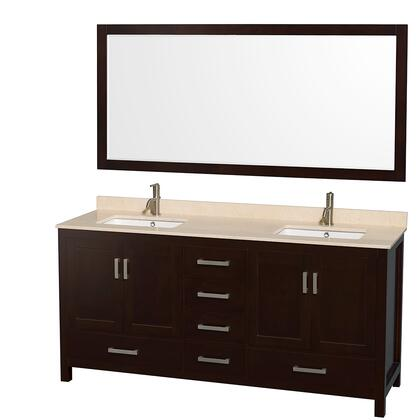 WCS141472DESIVUNSM70 72 in. Double Bathroom Vanity in Espresso  Ivory Marble Countertop  Undermount Square Sinks  and 70 in.