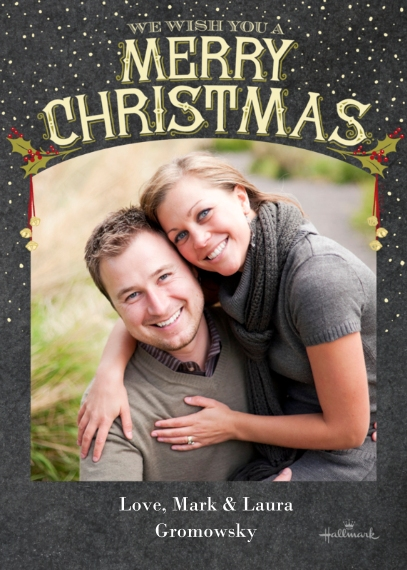 Christmas Photo Cards 5x7 Cards, Premium Cardstock 120lb, Card & Stationery -Vintage Merry Christmas