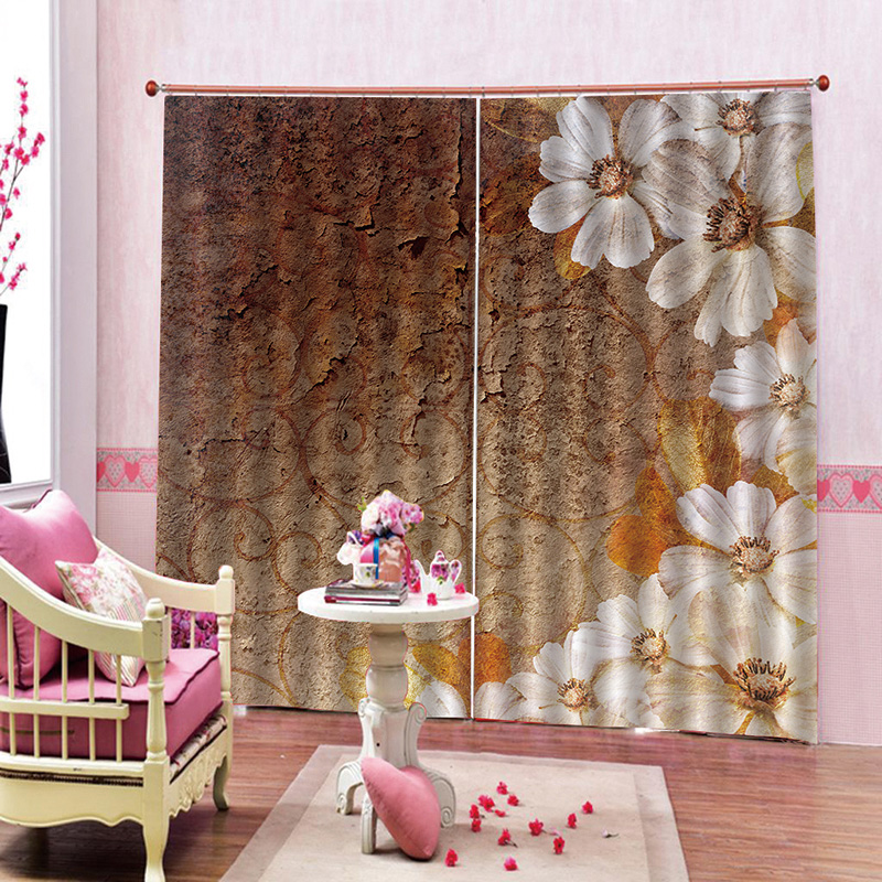 3D Floral Blackout Window Curtains for Modern Home Decoration No Pilling No Fading No off-lining