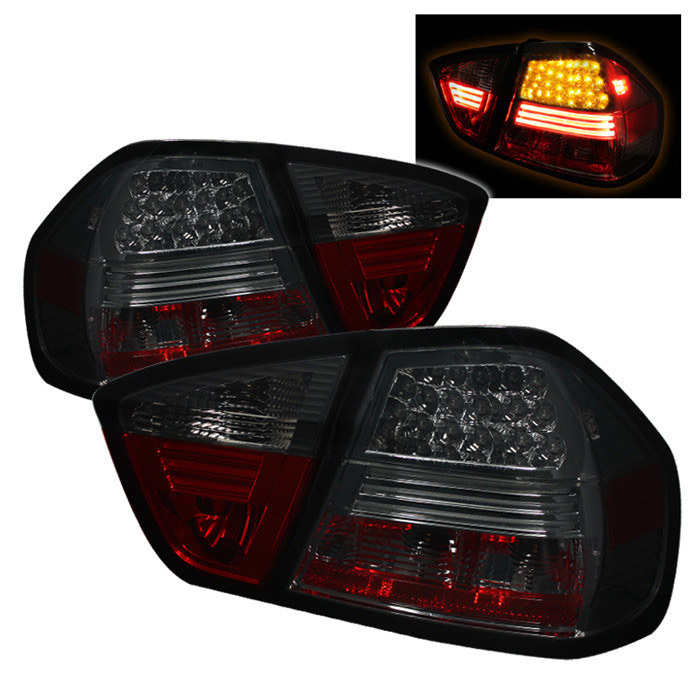 Spyder Auto ALT-YD-BE9006-LED-SM Smoke LED Taillights BMW E90 335i 4dr 06-08