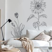 Pegatina mural con estampado de dibujo de girasol lineal