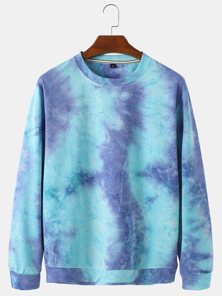 Mens Cotton Tie Dye Loose Casual Crew Neck Pullover Sweatshirts