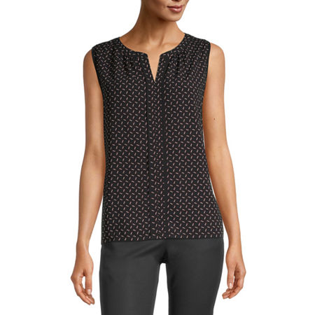 Liz Claiborne Womens Split Crew Neck Sleeveless Blouse, X-large , Black