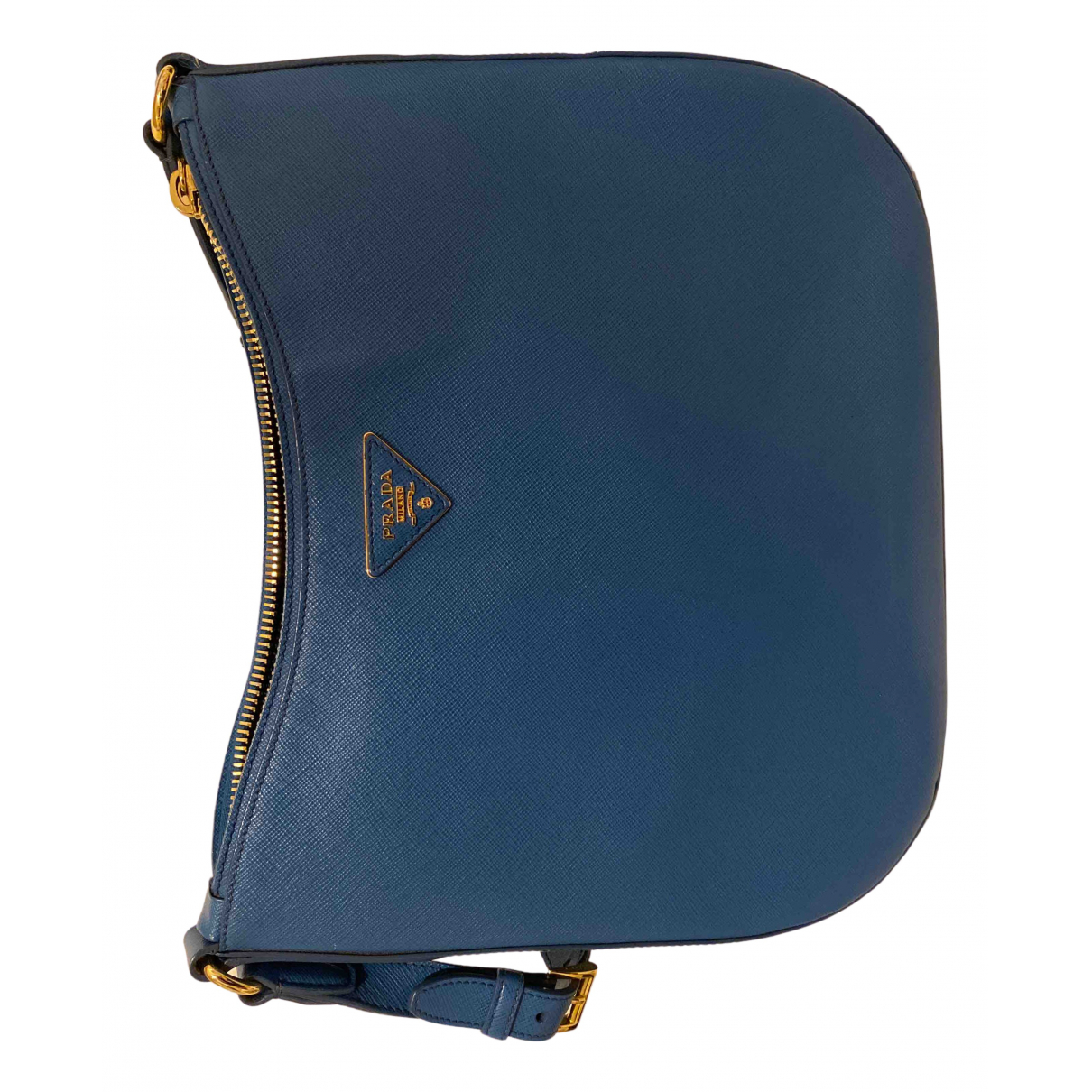 Prada saffiano  Handtasche in  Blau Leder