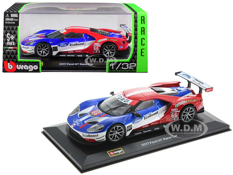 2017 Ford GT Race Car 66 Joey Hand / Dirk Muller / Sebastien Bourdais 1/32 Diecast Model Car by Bburago
