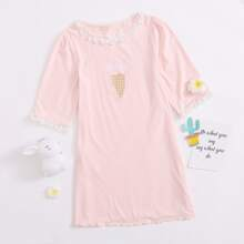 Girls Letter and Ice Cream Print Lace Trim Nightdress