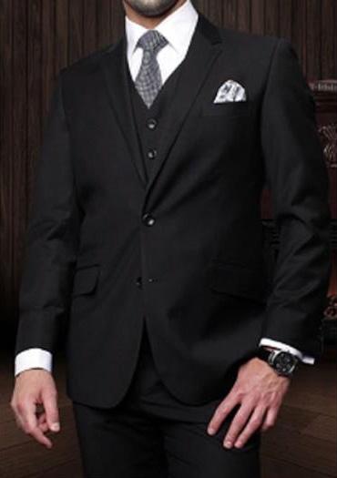 Statement Mens Black 3 Piece 2 Button Italian Designer Suit