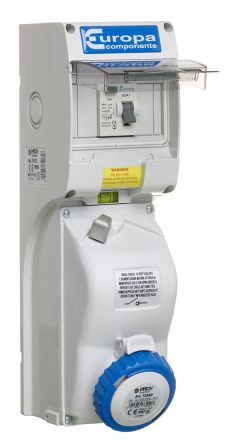 Europa Switchable IP44, IP65 Industrial Interlock Socket 2P+E, Earthing Position 6h, 32A, 230 V, Grey