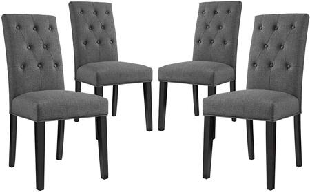 Confer Collection EEI-3326-GRY Set of 4 Dining Side Chairs with Pine Wood Frame  Non-Marking Foot Caps  Solid Rubberwood Tapered Legs  Dense Foam