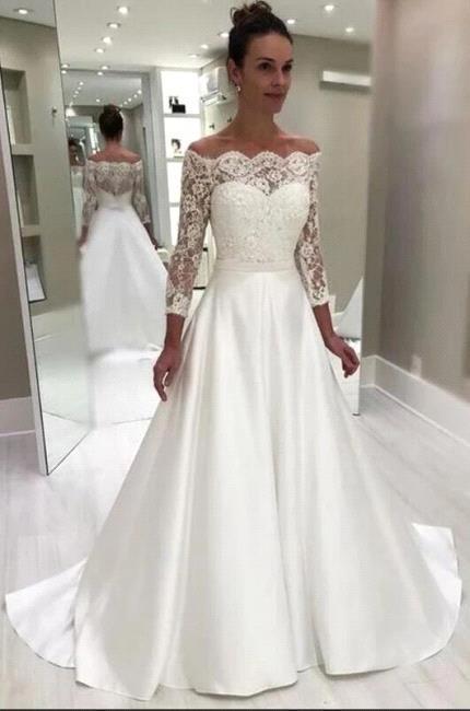 Royal Off-the-shoulder Court Train Vestido de novia de princesa blanca