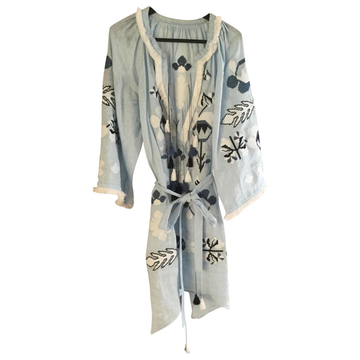 - Robe   pour femme en lin - bleu