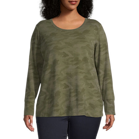 a.n.a Plus-Womens Scoop Neck Long Sleeve T-Shirt, 0x , Green