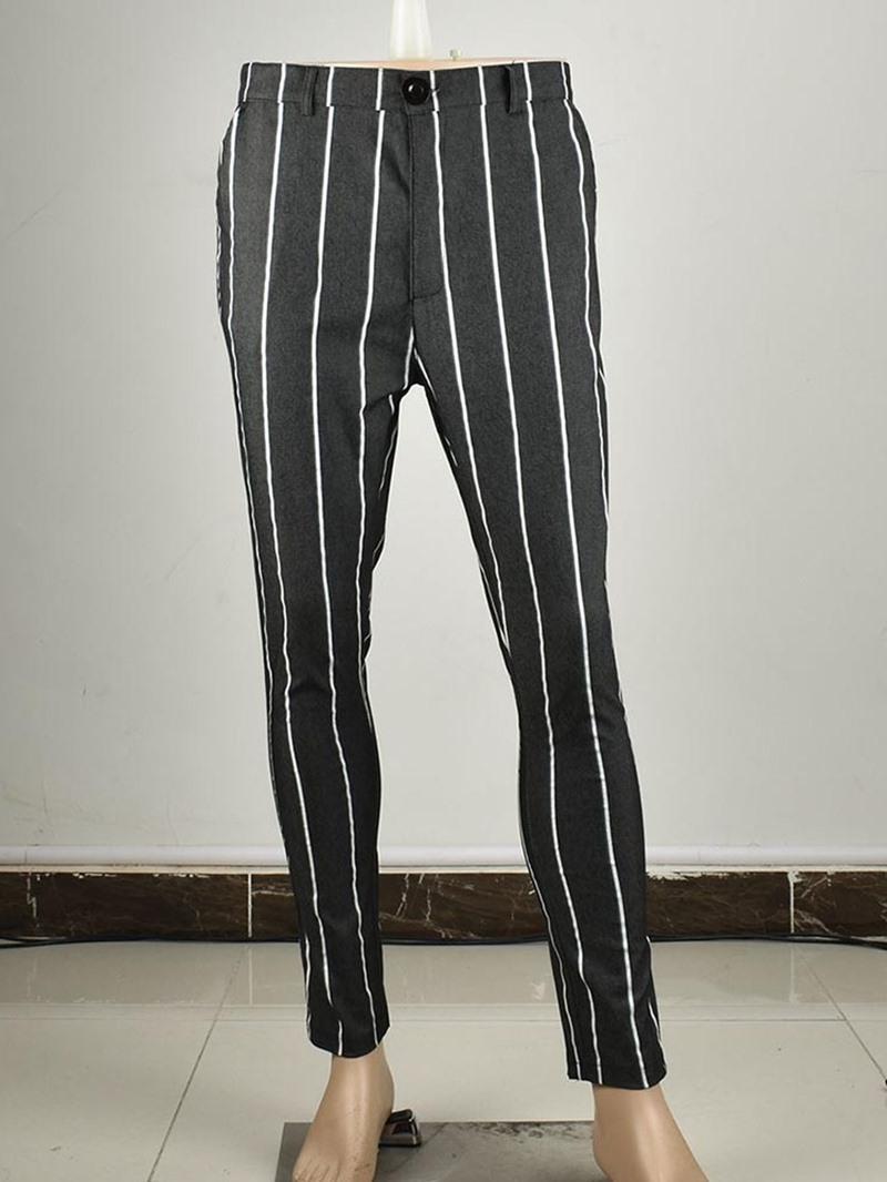 Ericdress Stripe Pencil Pants Zipper Men's Casual Pants