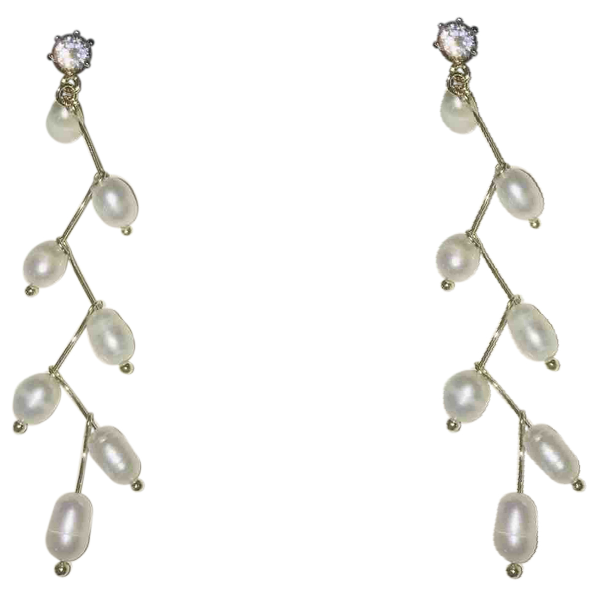 Non Signe / Unsigned Motifs Floraux OhrRing in  Gold Perle