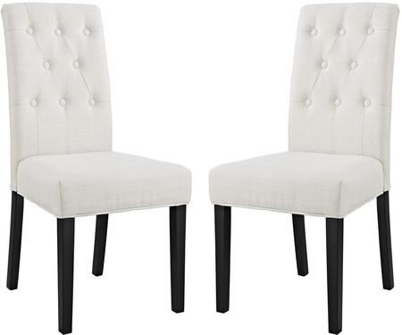 Confer Collection EEI-3325-BEI Set of 2 Dining Side Chairs with Pine Wood Frame  Non-Marking Foot Caps  Solid Rubberwood Tapered Legs  Dense Foam