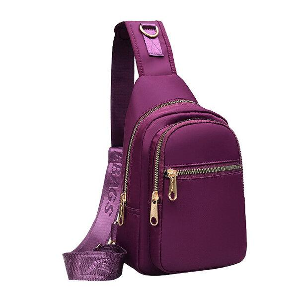 Women Nylon Large Waterproof Multi-pockets Crossbody Bag Outdoor Chest Bag