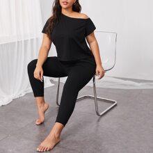 Schlafanzug Set mit asymmetrischem Kragen