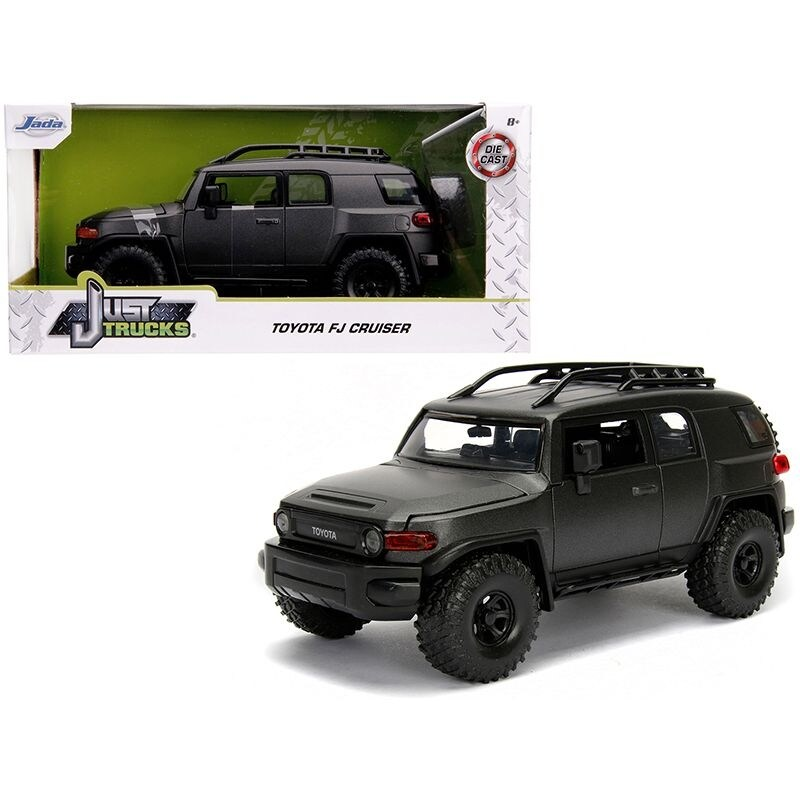 Toyota FJ Cruiser with Roof Rack Charcoal Gray Metallic Just Trucks 1/24 Diecast Model Car by Jada - Black (Black)