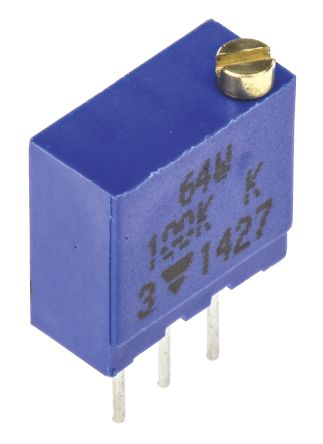 Vishay 64W Series 19 (Electrical), 22 (Mechanical)-Turn Through Hole Trimmer Resistor with Pin Terminations, 100kΩ