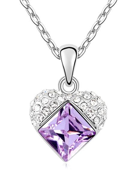 Milanoo Colgante de cristal purpura Collar de boda geometrica pendiente collar nupcial