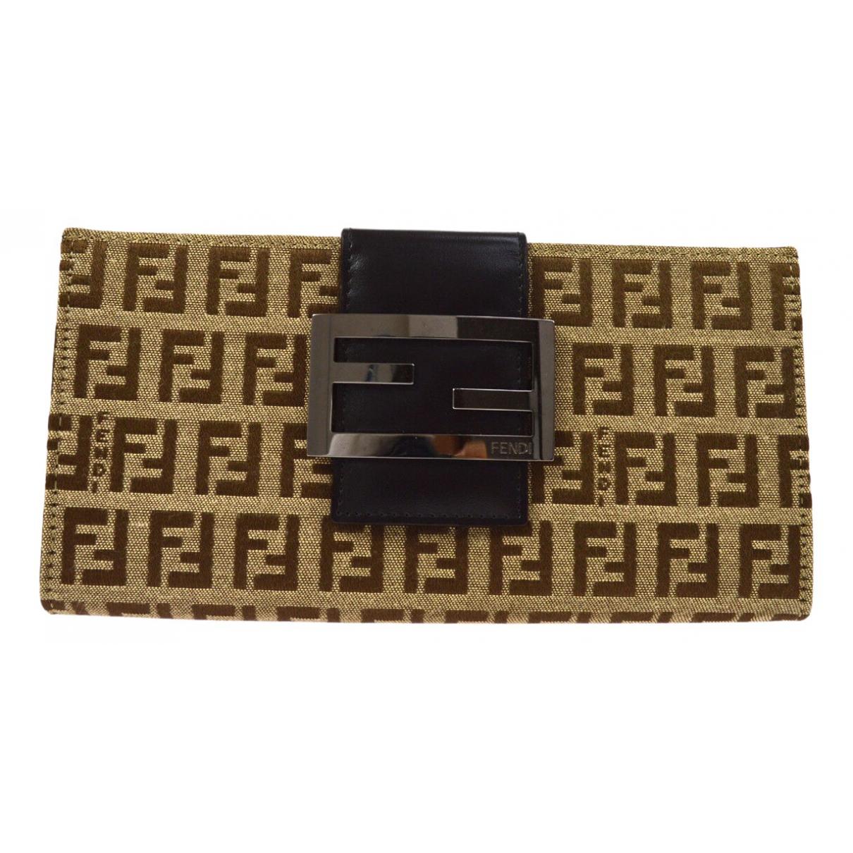 Fendi - Portefeuille   pour femme en toile - marron