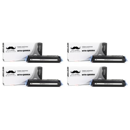 Compatible HP 124A Q6000A Black Toner Cartridge - Moustache - 4/Pack