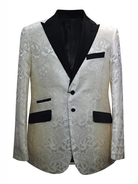 Mens 2 Button Paisley Designed Peak Lapel Ivory Sport Coat Blazer