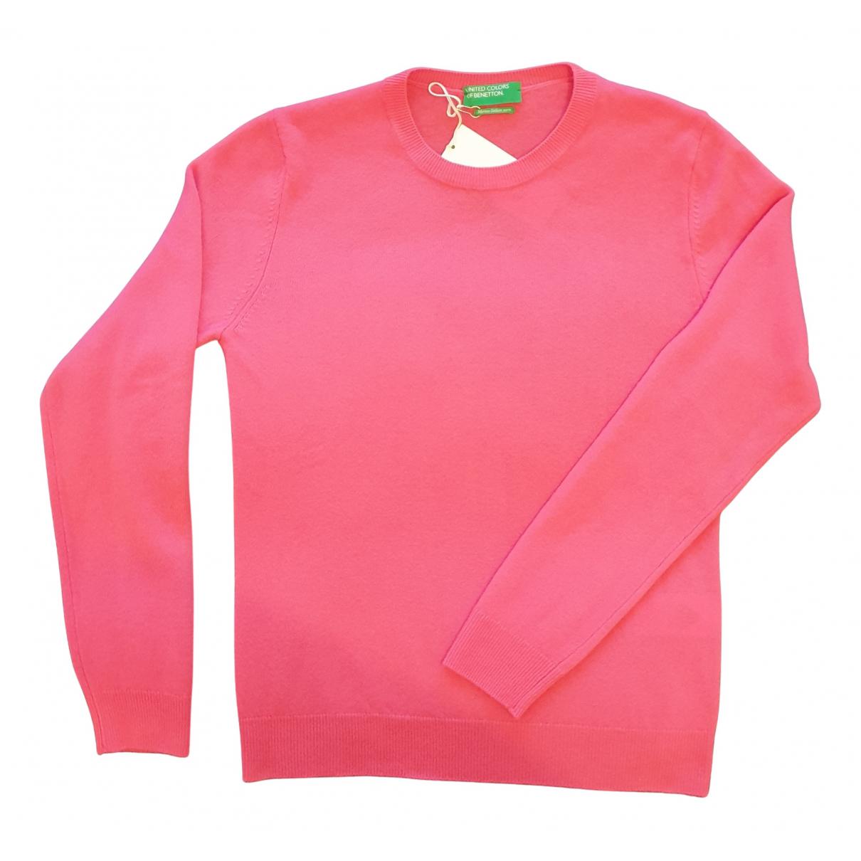 Benetton - Pull   pour femme en laine - rose