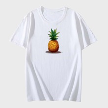 Men Pineapple Print Crew Neck Tee