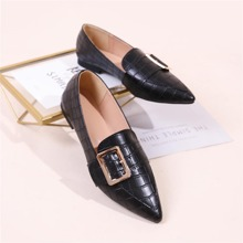 Pin Buckle Decor Croc Embossed Loafers