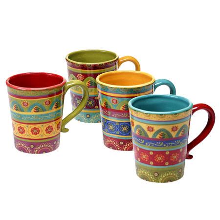 Certified International Tunisian Sunset Set Of 4 Mugs, One Size , Multiple Colors