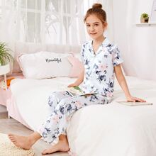 Satin Schlafanzug Set mit Blumen Muster