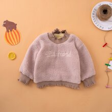 Toddler Girls Letter Embroidery Teddy Sweatshirt