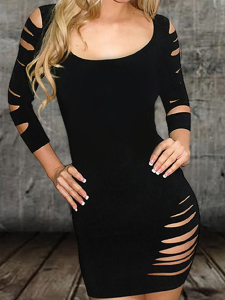 Yoins Sexy Hollow Design Cut Out Round Neck Long Sleeves Dress