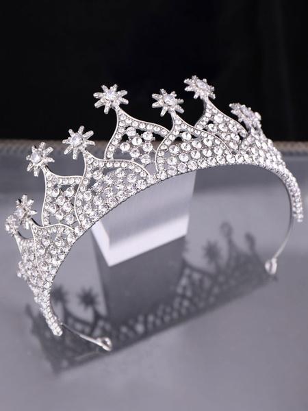 Milanoo Tiara Crown Wedding Silver Headpieces Rhinestone Bridal Hair Accessories