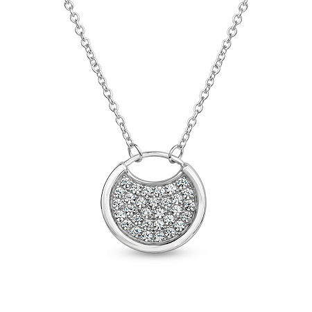 Sterling Silver 3-in-1 Cubic Zirconia Circle Drop Necklace, One Size , Multiple Colors